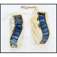 Genuine Diamond 18K Yellow Gold Blue Sapphire Earrings [E0011]
