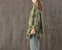 Loose vintage long-sleeved casual shirt,large size plaid shirt,polo collar shirt,women's shirt,Loose cotton single-breasted straight shirt $57.00