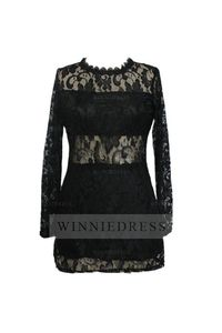 Tight Fitted Short Black Lace Long Sleeve Cocktail Party Dress