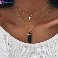 SUSENSTONE Women Multilayer Irregular Crystal Opals Pendant Necklace Choker Chain kr9.34