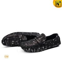 CWMALLS® Black Printed Leather Penny Loafers CW708225[Leather Shoes Reviews, Custom Made]