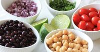 """Black beans, chick peas, tomatoes, cilantro and avocado are tossed with a cumin-lime vinaigrette �€"""" I love the bright, fresh flavors of this quick and easy salad"""