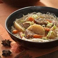 Slow Cooker Chinese Pork & Vegetable Hot Pot -- The richly flavored red braises characteristic of Chinese cooking make warming winter meals that are perfect for your slow cooker and for your diet. #LowCalorie #SlowCooker