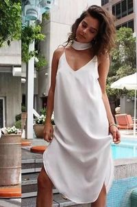 Holiday V Collar Chiffon Split Slip Midi Dress $34.99