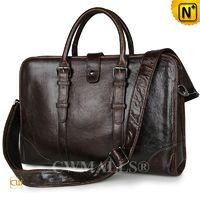 Custom Leather Bags   CWMALLS® Brown Leather Briefcase for Men CW907129[Father's Day Gifts, Handmade]