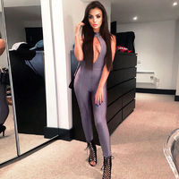 Sexy Sleeveless Hollow Out High Neck Backless Bodycon Bandage Jumpsuits