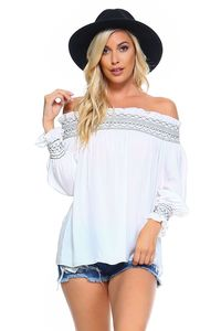 Women's Off Shoulder Stripe Smocked Elastic Top $29.00