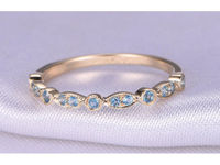 Half Eternity Matching Band Blue Topaz Wedding Band Anniversary ring 14k yellow gold Infinity Ring Art Deco Antique Marquise ring $270.00