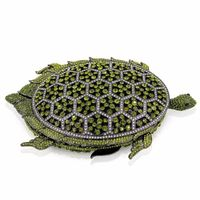 Green Crystal Tortoise Women Metal Evening Clutch Bag / Animal Print $173.97