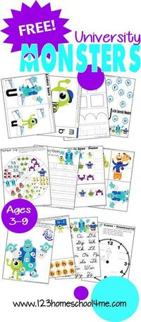 FREE University Monsters Worksheets for learning fun for: #Toddlers, #Preschool, #kindergarten, #1st, and #2ndgrade from www.123homeschool4me.com