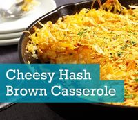 Feed a large group of friends and family at gatherings with this cheesy hashbrown casserole recipe. It combines frozen hash browns, cheese and corn flakes. Serve it at your next get-together as a crowd-pleasing side dish. Cheesy Hash Brown Casserole Serve...