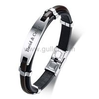 Gullei.com Customized Leather Mens Love Bracelet Black