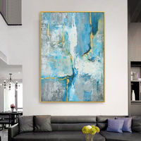 Gold art Modern abstract acrylic painting on canvas original Blue painting extra large painting Wall picture hand painted cuadros abstractos $116.47