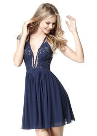Chic Plunging V-neck Diamond-cutout Back Embroidered Navy Cocktail Dress