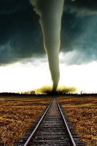 Tornado on the train tracks.