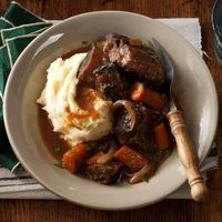 These short ribs are exploding with flavor and tenderness. They are a quick and easy alternative to traditionally braised short ribs. Serve with egg noodles, ri