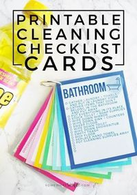 These colorful Printable Cleaning Checklist Cards will help tackle your everyday household chore goals! Plus ideas on how to make a simple cleaning caddy!