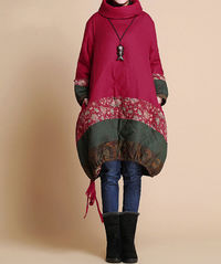 Winter loose padded coat/ linen babydoll padded dress/ red