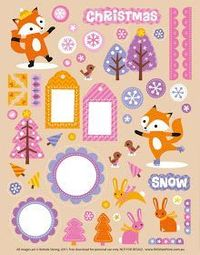 FREE Printable Holiday Fox Scrapbooking Elements