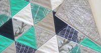 Arrows and Deer - triangle quilt - baby quilt - turquoise, navy, gray, and white