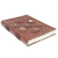 """Leather Chakra Stone Notebook (6x9"""") Vintage Gift £34.00"""