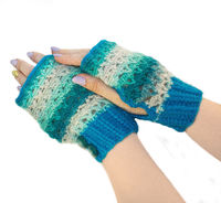 Winter half mittens, as sentimental anniversary gift for wife, knitted blue arm warmers $33.00