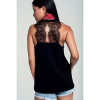 Sleeveless black top with lace detailing $40.00