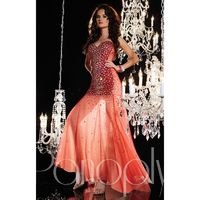 Red/Nude Panoply 14625 - Crystals Sheer Dress - Customize Your Prom Dress