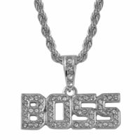 Silver Plated Boss Crystal Studded Pendant Rope Chain Necklace £3.25