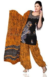Unstitched corporate black and yellow Batik pure cotton salwar kameez