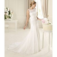Charming A-line Straps Sequins Sweep/Brush Train Chiffon Wedding Dresses - Dressesular.com