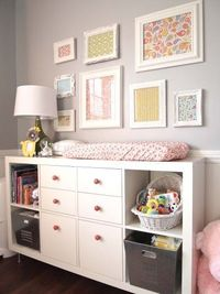 "Baby changing area & dresser-Dresser �€"" Ikea, Expedit Bookcase �€"" $69.99 Dresser Double Drawers - Ikea, Expedit Insert with 2 Drawers - $35.00 Dresser Single Drawers �€"" Ikea, Expedit Insert Single Drawer (no lon..."