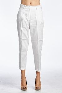 Casual Loose Pockets White Stretch Capris Pant $19.99