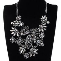 Fashion Jewelry Chain Black Grey Rhinestone Acrylic Choker Statement Pendant Bib Necklace