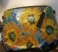 Chain Shoulder Crossbody Bag-Leather Clutch Purse-Yellow Sunflower Long Chain Crossbody bag-Butterfly Chain Crossbody Purse-Tasseled zipper $22.00