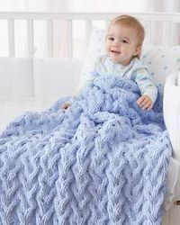 Baby Blanket - Shadow Cable Baby Blanket (knit) Warm and cozy baby blanket with thick cables. Shown in Bernat Baby Blanket. Warm and cozy baby blanket with thick cables. Shown in Bernat Baby Blanket.