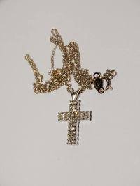"14k White Gold Chain & Genuine Diamond 3/4"" x 1/2"" 4mm w. Cross Pendant Necklace. $301.75"