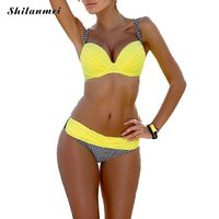 Bohemian Bikini Set Low Waist Bikinis Swimwear Women Swimsuit Grid Bottom Bathing Suit Women Biquin Brazilian Maillot De Bain $32.00