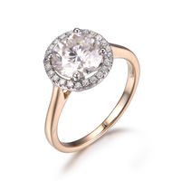 1.5CTW MOISSANITE AND DIAMOND ENGAGEMENT RING 14K TWO-TONE GOLD HALO 7.5MM ROUND CUT GEMS STACKING RING