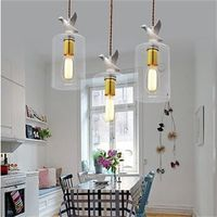 LED Rustic Style Transparent Creative personality bird Glass Dining Room Pendant Light