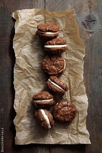 I could barely look at these Brownie Cookies with Salted Caramel Crème Filling from Bakers Royale without getting out the ingredients to start baking them right