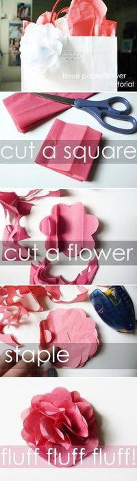 paper flower tutorial, tissue paper flowers and paper flowers.