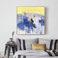 Framed art Blue Acrylic mustard yellow waterfall mountain abstract Paintings On Canvas original texture painting wall pictures palette knife $140.00