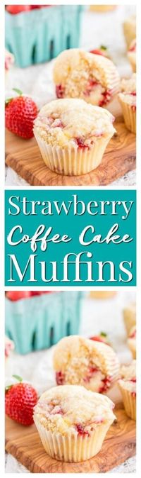 These Strawberry Coffee Cake Muffins are made with sweet fresh berries and buttermilk and topped with a delicious sugar and butter crumble! via