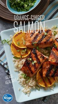 An Asian-style marinade transforms heart-healthy salmon into a satisfying main dish. Grill up this sweet, tangy recipe and enjoy a tasty summer cookout. Get the complete recipe and ingredients from Kroger!