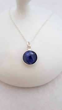 Silver Sapphire Necklace, Gift for her, Anniversary Gift, Push Present, Birthday Gift, wedding, Valentine's Day Gift, I Love You Gift £40.00