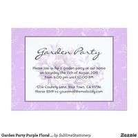 Garden Party Purple Floral Invitations