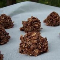 No Bake Cookies without Peanut Butter Allrecipes.com- used old fashioned oats and coconut. Put into fridge to harden...