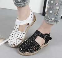 2017 sandals women bling bling fashion buckle summer flats sandals rivet round toe cut-outs summer shoes closed toe sandalet