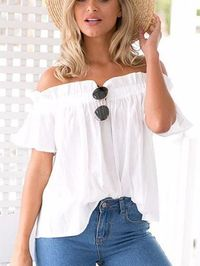 $17.99 Trendy Times Off The Shoulder White Solid Top
